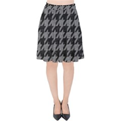Houndstooth1 Black Marble & Gray Denim Velvet High Waist Skirt