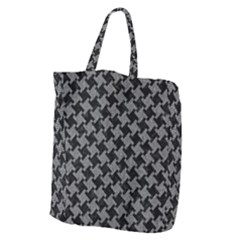 Houndstooth2 Black Marble & Gray Denim Giant Grocery Zipper Tote by trendistuff