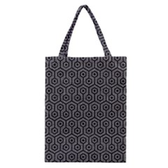Hexagon1 Black Marble & Gray Denim Classic Tote Bag by trendistuff