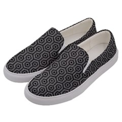 Hexagon1 Black Marble & Gray Denim Men s Canvas Slip Ons by trendistuff