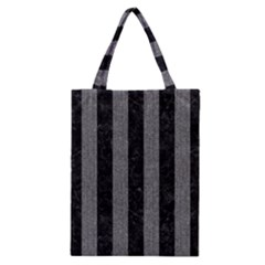 Stripes1 Black Marble & Gray Denim Classic Tote Bag by trendistuff