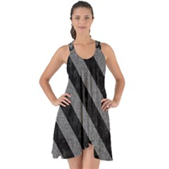 Stripes3 Black Marble & Gray Denim Show Some Back Chiffon Dress by trendistuff