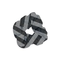 Stripes3 Black Marble & Gray Denim (r) Velvet Scrunchie