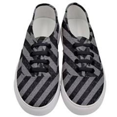 Stripes3 Black Marble & Gray Denim (r) Women s Classic Low Top Sneakers