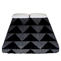Triangle2 Black Marble & Gray Denim Fitted Sheet (queen Size) by trendistuff