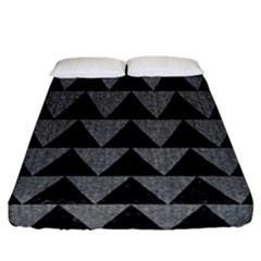 Triangle2 Black Marble & Gray Denim Fitted Sheet (california King Size) by trendistuff
