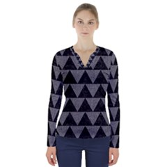 Triangle2 Black Marble & Gray Denim V Neck Long Sleeve Top