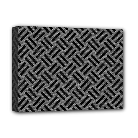 Woven2 Black Marble & Gray Denim Deluxe Canvas 16  X 12   by trendistuff