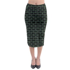 Brick1 Black Marble & Green Denim (r) Midi Pencil Skirt
