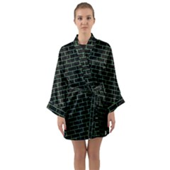 Brick1 Black Marble & Green Denim (r) Long Sleeve Kimono Robe by trendistuff