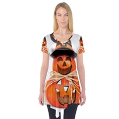 Funny Halloween Pumpkins Short Sleeve Tunic  by gothicandhalloweenstore