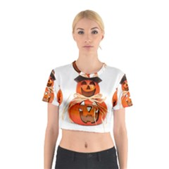 Funny Halloween Pumpkins Cotton Crop Top by gothicandhalloweenstore