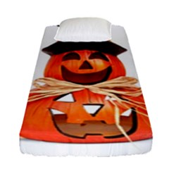 Funny Halloween Pumpkins Fitted Sheet (single Size) by gothicandhalloweenstore