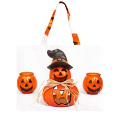 Funny Halloween Pumpkins Zipper Large Tote Bag by gothicandhalloweenstore