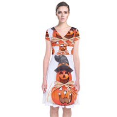 Funny Halloween Pumpkins Short Sleeve Front Wrap Dress by gothicandhalloweenstore
