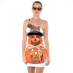 Funny Halloween Pumpkins One Soulder Bodycon Dress by gothicandhalloweenstore