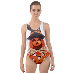 Funny Halloween Pumpkins Cut Out Back One Piece Swimsuit by gothicandhalloweenstore