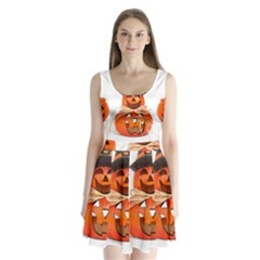 Funny Halloween Pumpkins Split Back Mini Dress  by gothicandhalloweenstore