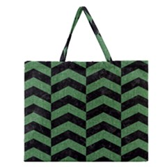 Chevron2 Black Marble & Green Denim Zipper Large Tote Bag by trendistuff