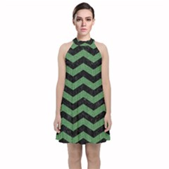 Chevron3 Black Marble & Green Denim Velvet Halter Neckline Dress