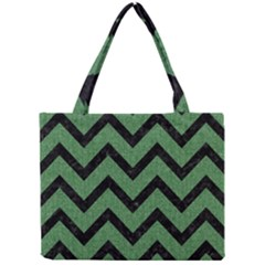 Chevron9 Black Marble & Green Denim Mini Tote Bag by trendistuff