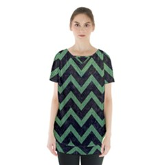 Chevron9 Black Marble & Green Denim (r) Skirt Hem Sports Top by trendistuff