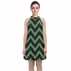 Chevron9 Black Marble & Green Denim (r) Velvet Halter Neckline Dress
