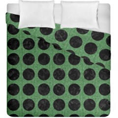 Circles1 Black Marble & Green Denim Duvet Cover Double Side (king Size) by trendistuff