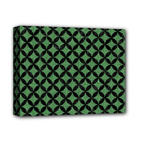 Circles3 Black Marble & Green Denim Deluxe Canvas 14  X 11  by trendistuff