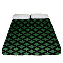 Circles3 Black Marble & Green Denim Fitted Sheet (california King Size) by trendistuff