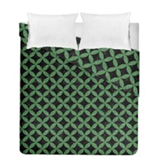 Circles3 Black Marble & Green Denim (r) Duvet Cover Double Side (full/ Double Size)