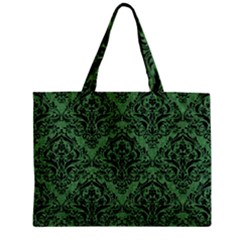 Damask1 Black Marble & Green Denim Zipper Mini Tote Bag by trendistuff