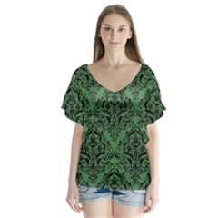Damask1 Black Marble & Green Denim V Neck Flutter Sleeve Top