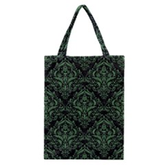 Damask1 Black Marble & Green Denim (r) Classic Tote Bag by trendistuff