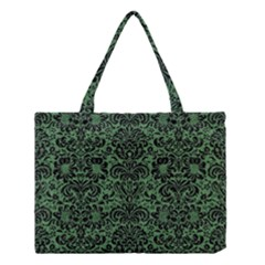 Damask2 Black Marble & Green Denim Medium Tote Bag by trendistuff
