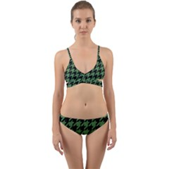 Houndstooth1 Black Marble & Green Denim Wrap Around Bikini Set