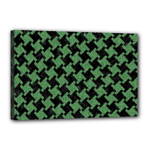 Houndstooth2 Black Marble & Green Denim Canvas 18  X 12  by trendistuff