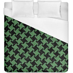 Houndstooth2 Black Marble & Green Denim Duvet Cover (king Size) by trendistuff
