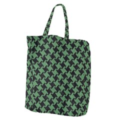 Houndstooth2 Black Marble & Green Denim Giant Grocery Zipper Tote by trendistuff
