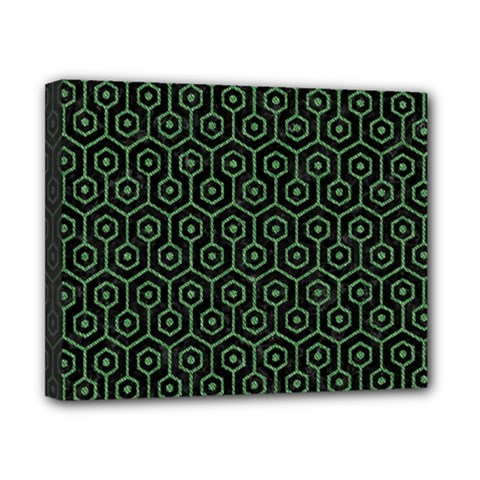 Hexagon1 Black Marble & Green Denim (r) Canvas 10  X 8  by trendistuff