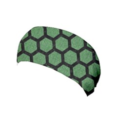 Hexagon2 Black Marble & Green Denim Yoga Headband