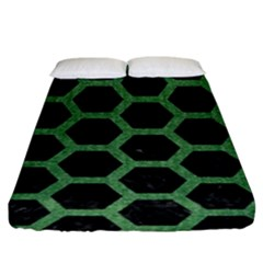 Hexagon2 Black Marble & Green Denim (r) Fitted Sheet (king Size) by trendistuff