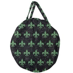 Royal1 Black Marble & Green Denim Giant Round Zipper Tote by trendistuff
