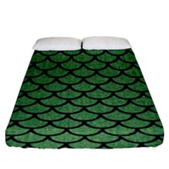 Scales1 Black Marble & Green Denim Fitted Sheet (king Size) by trendistuff