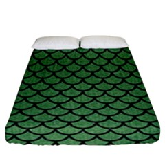 Scales1 Black Marble & Green Denim Fitted Sheet (california King Size) by trendistuff