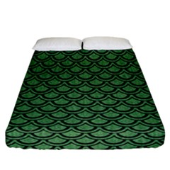 Scales2 Black Marble & Green Denim Fitted Sheet (california King Size) by trendistuff