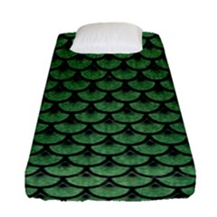 Scales3 Black Marble & Green Denim Fitted Sheet (single Size) by trendistuff