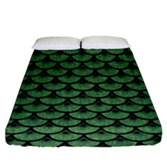 Scales3 Black Marble & Green Denim Fitted Sheet (king Size) by trendistuff