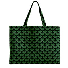 Scales3 Black Marble & Green Denim Zipper Mini Tote Bag by trendistuff