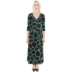Skin1 Black Marble & Green Denim Quarter Sleeve Wrap Maxi Dress by trendistuff